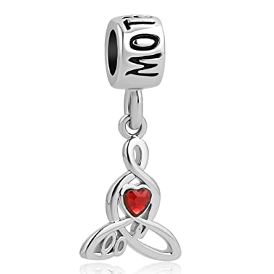 0f138e081 Amazon.com: Charmed Craft Dangle Charms Heart Love Mom Charms Mother Charms  for Mother's Day Beads for Bracelets (red): Jewelry