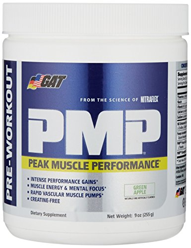 GAT PMP (Peak Muscle Performance), Next Generation Pre Workout Powder for Intense Performance Gains, Green Apple, 30 Servings