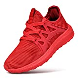 QANSI Child Kids Fashion Sneakers Ultra Lightweight Breathable Athletic Running Walking Tennis Shoes for Girls Boys 5.5 Big Kid Red