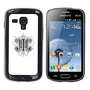 PC/Aluminum Funda Carcasa protectora para Samsung Galaxy S Duos S7562 M letter initial calligraphy design art / JUSTGO PHONE PROTECTOR