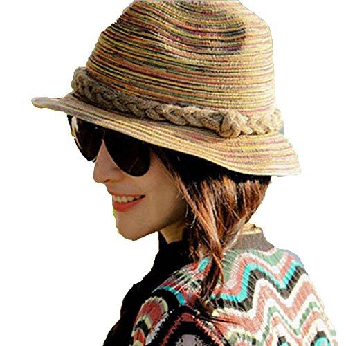 Summer Women Girls Colorful Jazz Beach Hats Straw Hats Sun Hats for Women Feminino chapeu Hats,1