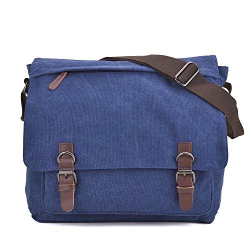 - Large Vintage Canvas Messenger Shoulder Bag Crossbody Bookbag Business Bag for 15inch Laptop Jean Blue