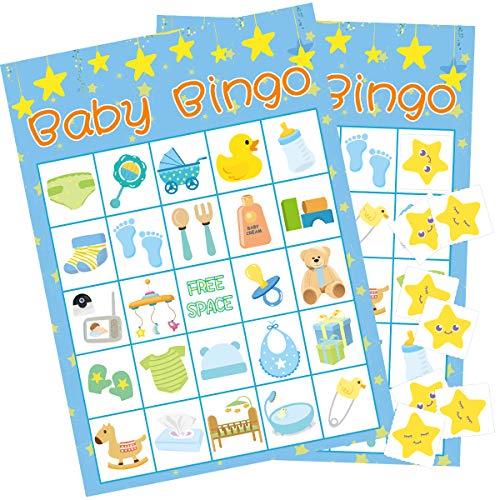 Baby Shower Bingo Game (Boy Baby Shower Bingo Game - 24 Guests Party Game)