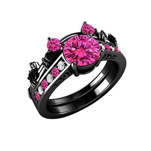 Pink Ring Princess Sapphire (Star Retail 1.5ct Pink Sapphire & CZ Lab Created Diamond 14K Black Gold Plated Alloy Classic Look Mickey Mouse Engagement Bridal Ring Sets for Women's Jewelry)