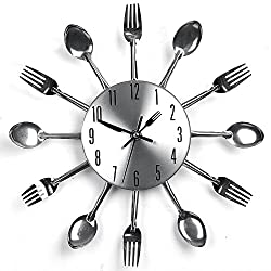 YJYdada Modern Design Sliver Cutlery Kitchen Utensil Wall Clock Spoon Fork Clock