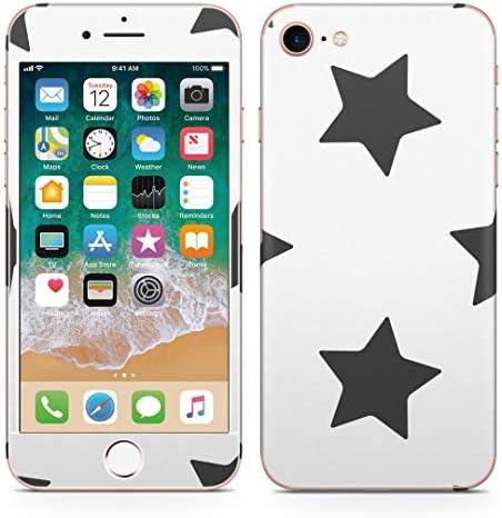 igsticker iPhone SE 2020 iPhone8 iPhone7 専用 スキンシール 全面スキンシール フル 背面 側面 正面 液晶 ステッカー 保護シール 009666 星 白 黒