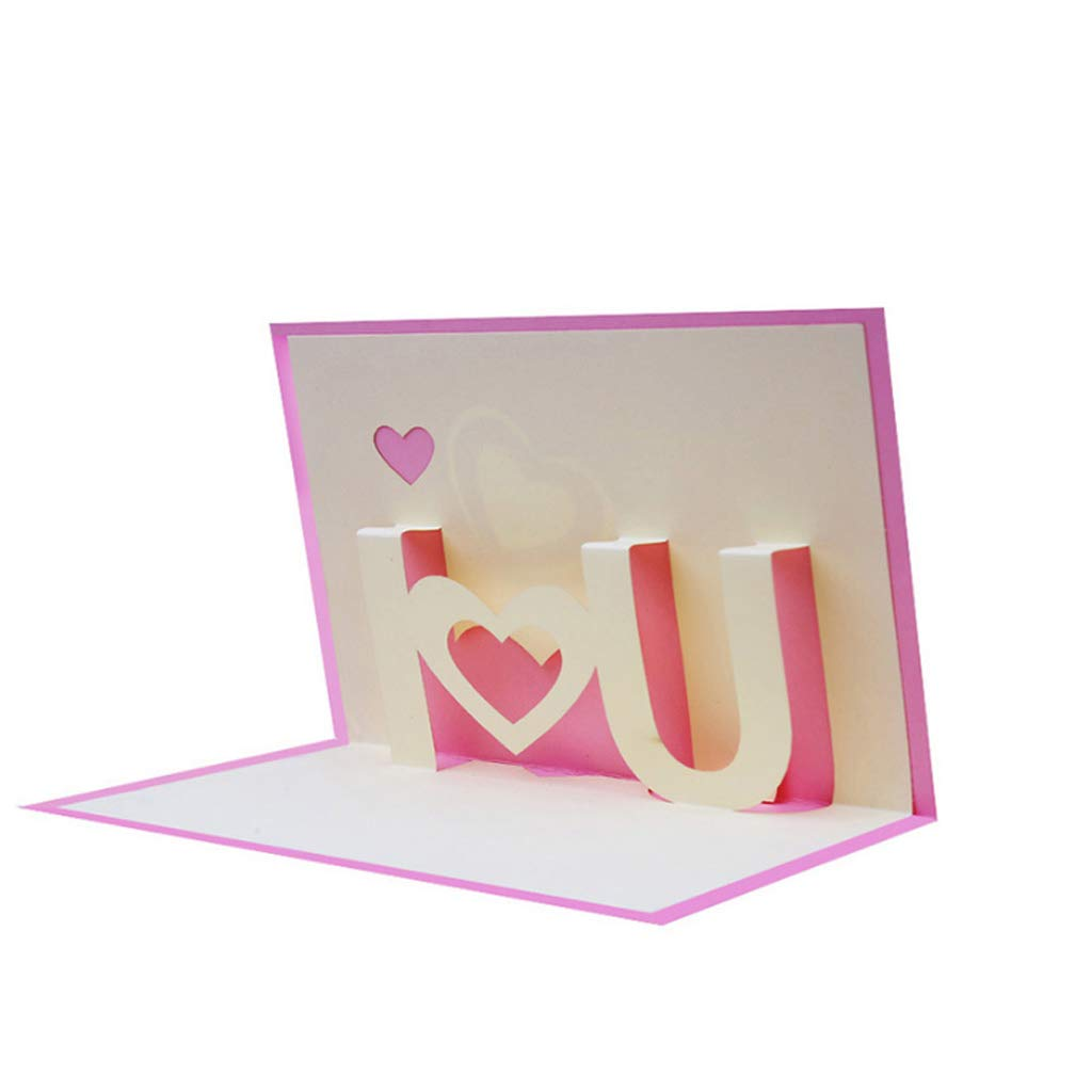 Kofun 3D Pop Up Biglietto di Auguri con Busta di Carta Artigianato Natale Compleanno Capodanno invito Ti Amo Rosa 10x15 cm//3.94x5.91 in