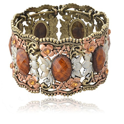 SUMAJU Cuff Bracelets, Vintage Bracelets Drop Hollowed VTG Elegant Flower Resin Bangle Bracelets for Women (Brown)