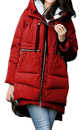 Cotton Jacket Blackmyth Down Winter Coat Rosso Parka Warm Vino Loose Women Long 8Iw0RrIq