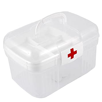 Attirant Uxcell® Plastic Double Layer Medicine Chest Box First Aid Storage Case