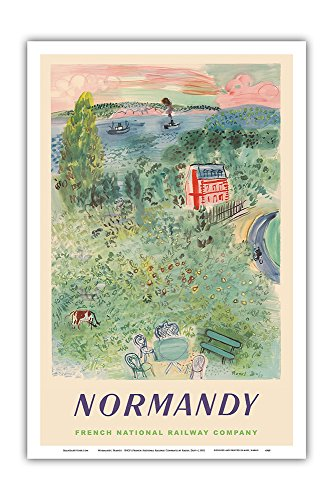 Normandy Master - Pacifica Island Art Normandy, France - SNCF (French National Railway Company) - Vintage Railroad Travel Poster by Raoul Dufy c.1952 - Master Art Print - 12in x 18in