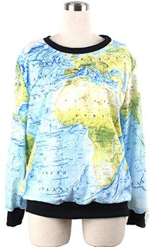 Thenice - Sudadera - para mujer World Map
