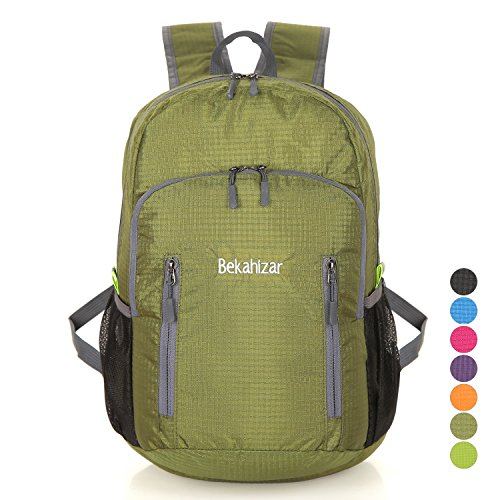 Bekahizar 20L Ultra Lightweight Backpack Foldable Hiking Daypack Water Resistant Travel Day Bag Packable for Kids Men Women Outdoor Sports Camping Day Trips Walking Cycling (Green)