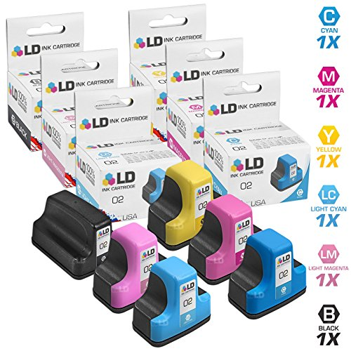 D6160 Light - LD Remanufactured Ink Cartridge Replacements for HP 02 (1 Black, 1 Cyan, 1 Magenta, 1 Yellow, 1 Light Cyan, 1 Light Magenta, 6-Pack)