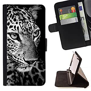 Momo Phone Case / Flip Funda de Cuero Case Cover - Leopardo Negro Blanco Animal Curioso - Sony Xperia M4 Aqua