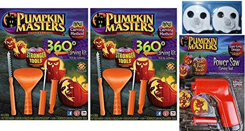 Pumpkin Masters Pumpkin 360 Degree Carving Kit Set of 2, Power Saw Carving Tool & Ghost Tea Lights (Spooky Halloween Pumpkin Carving Patterns)