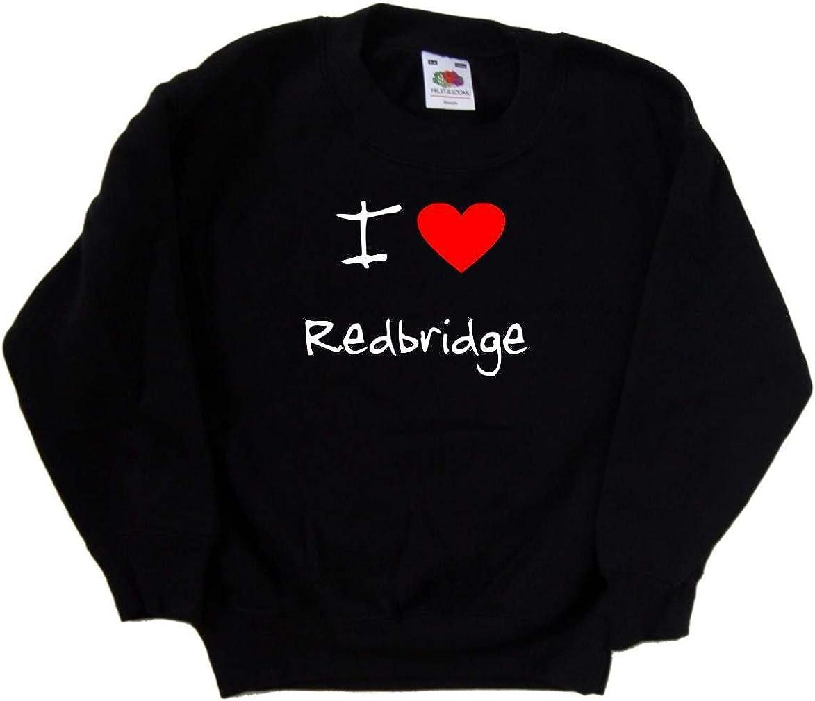 I Love Heart Redbridge Black Kids Sweatshirt