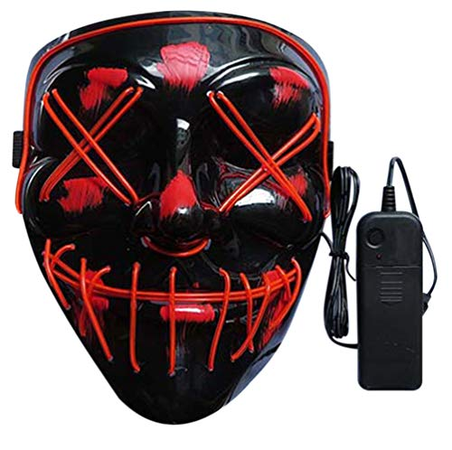 Nuoka Halloween Custome Cosplay Scary Led Mask Frightneing EL Wire Light Up Mask (Red)