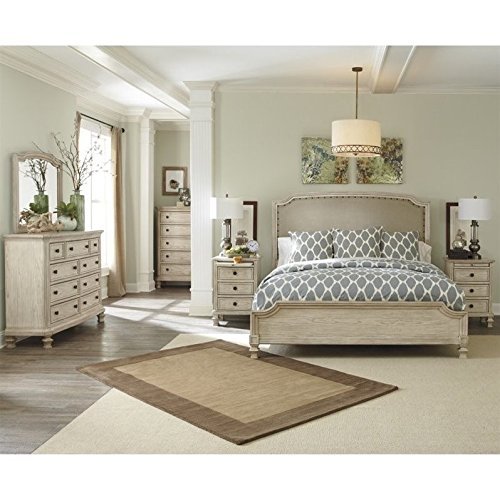 Ashley Demarlos 6 Piece Wood King Panel Bedroom Set in (Distressed Antique Parchment Finish)