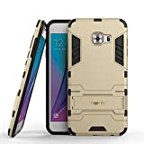 Heartly Samsung Galaxy C5 Back Cover Graphic Kickstand Hard Dual Rugged Armor Hybrid Bumper Case - Mobile Gold
