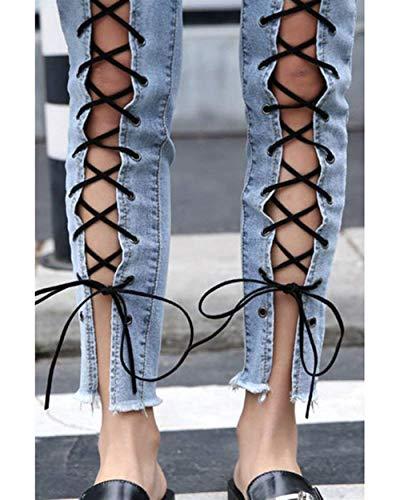 Metallo Slim Jeans Ragazza Fit Hellblau Fibbia lannister Qk Tasche Incrociati Strappi In Abbottonate Cinturini Donna Con Casual Pantaloni wZAY4Aax5q
