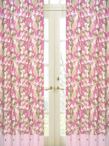 Pink and Khaki Camo Window Treatment Panels by Sweet Jojo Designs - Set of 2 Camo Pink Lamp Shade