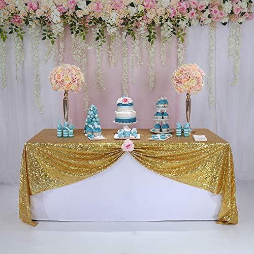 Trlyc Schimmernde Tischdecke Aus Paillettengewebe Für Hochzeiten Gold Shimmer Table Cover Sparkly 50 72 Pailletten Tischdecke Küche Haushalt
