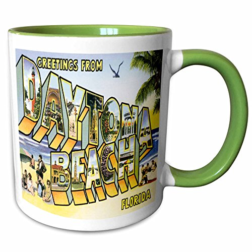 3dRose BLN Vintage US Cities and States Postcard Designs - Greetings From Daytona Beach, Florida Bold Lettering with City Scenes - 11oz Two-Tone Green Mug - Florida Beach Outlets Daytona