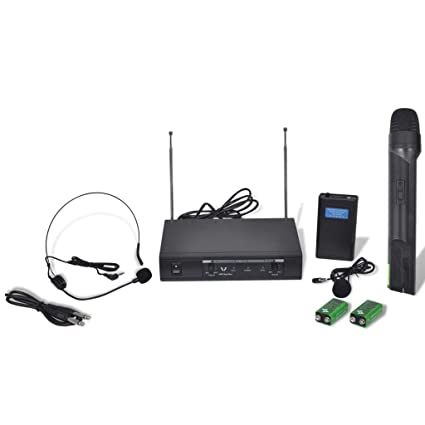 vidaXL Receptor Con Un Auricular Y Un Microfóno Inalámbricos VHF Profesional DJ Evento