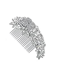 Leaf Shape Rhinestone Crystals Comb Clear Flower Hair Comb for Wedding Women Jewelry Hair Accessories Bridal Comb
