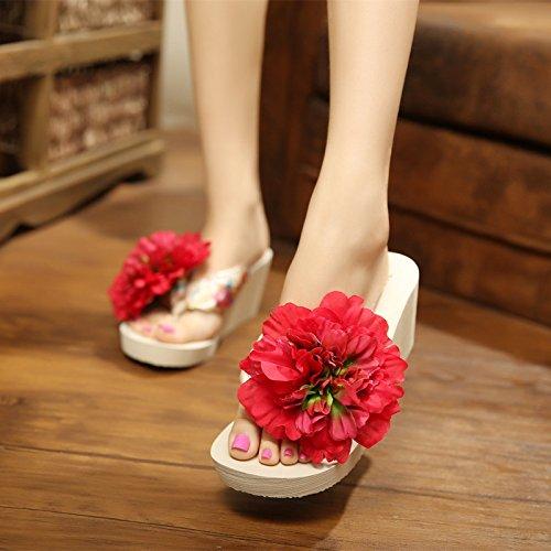 Alto Flores Verano Awxjx Seaside Tacón Rojo Flops Mujer Pizca Grueso Flip Pendiente Holiday Inferior Chanclas YAxT0xg