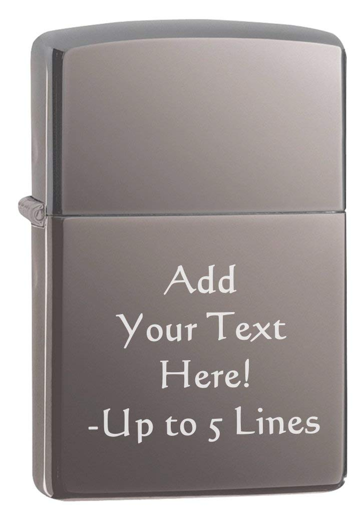 Black Ice Classic Zippo Outdoor Indoor Windproof Lighter Free Custom Personalized Engraved Message Permanent Lifetime Engraving on Backside