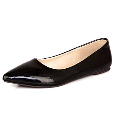 c4e9485a0eeff Vitalo Women s Flat Pointed Ballet Pumps Court Shoes Ladies Patent Ballerina  Dolly Shoes Size 2UK