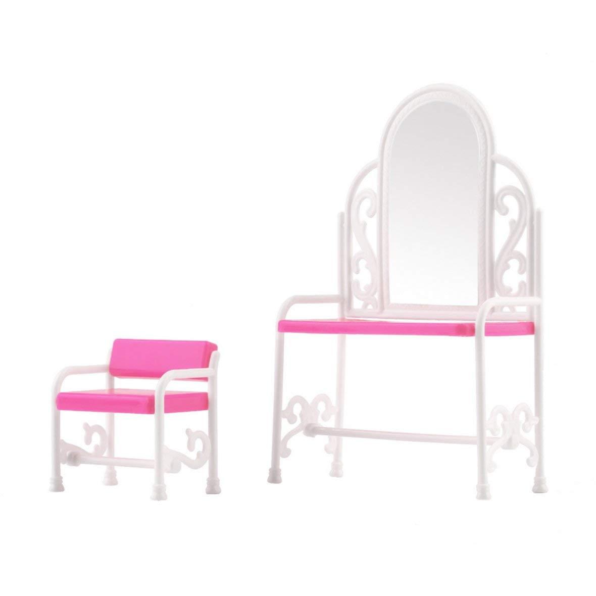 Heaviesk Coiffeuse Bé bé s Filles Jouets Coiffeuse & Accessoires De Chaise Set pour Barbies Poupé es Mobilier De Chambre