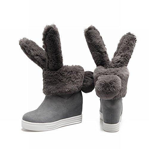 Charm Foot Womens Dolce Pompon Tacco Alto Con Plateau Tacco Alto, Stivali Da Neve Grigi