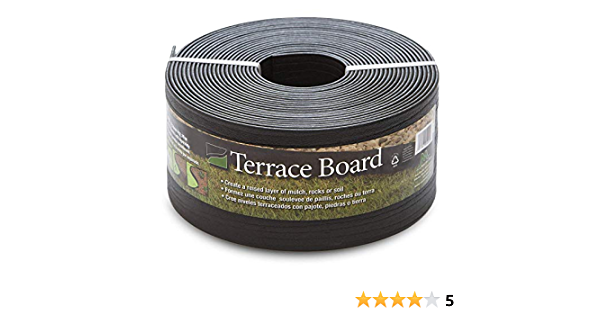 Pack of 4 Black Master Mark Plastics 95440 Terrace Board Landscape Edging Coil 5 Inch by 40 Foot