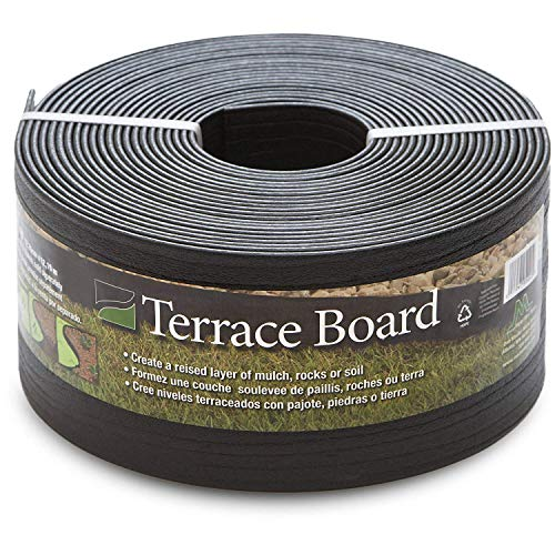 Master Mark Plastics Black Terrace Board Garden Landscape Edging Coil, 5-Inch By 40 Foot with 10-Piece Yard Landscape Stakes (Flowerbed Edging)