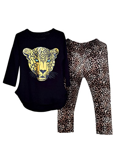 Kidlove Leopard Head Print T-shirt Skinny Leopard Print Pants Girls Clothing Set Outfit Girls Clothes Pajamas Size 8 Size 7Black