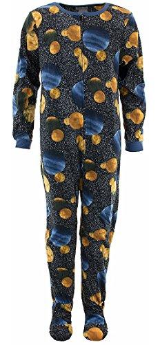 Komar Kids Big Boys' Black Planets Footed Pajamas L/10-12