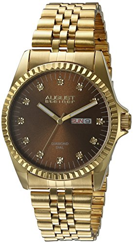 August Steiner Men's AS8169YGBR Gold Tone Quartz Watch with Brown Dial and Yellow Gold Bracelet