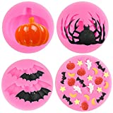 BAKHUK Halloween Fondant Silicone Molds Set of 4, Pumpkin, Spider, Bat, Ghost, Star, Moon