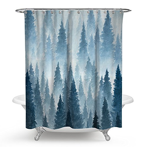 Roslynwood Watercolor Forest Nature Shower Curtains with Hooks Waterproof mildew Resistant 72 x 78 inches by Roslynwood