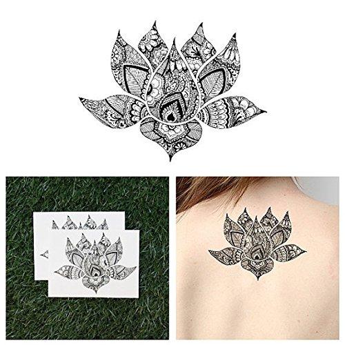 Tattify Intricate Lotus Temporary Tattoo - Padma (Set of 2) Long Lasting, Waterproof, Fashionable Fake Tattoos