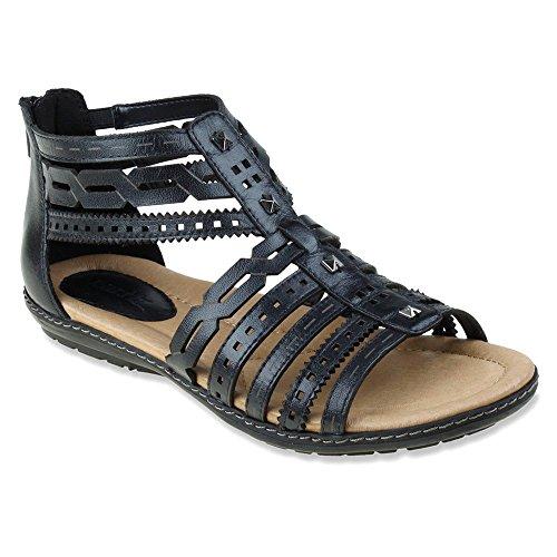 Earth Bay Damen US 6 Schwarz Gladiator Sandale