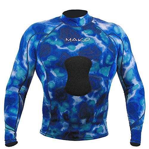Wetsuit Shirt Spearfishing Blue Camouflage Lycra Long Sleeve - 1.5mm (Large)