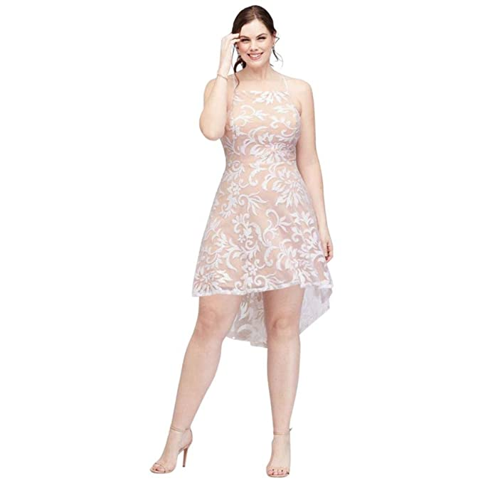 David\'s Bridal High-Neck Sequin Brocade High-Low Plus Size ...