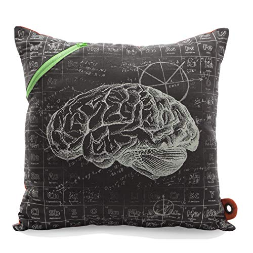 Mimish Scientist Storage Pillow with Pocket and Exposed Zippers, Medium, Brain and Periodic -