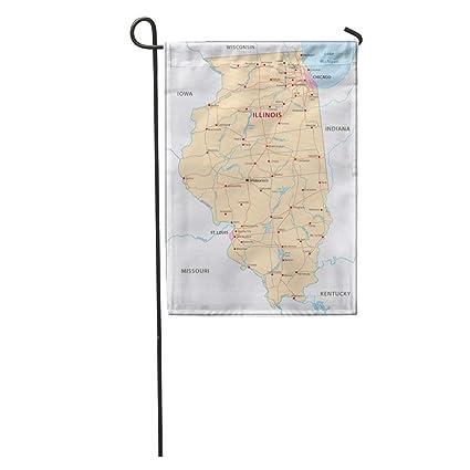 Amazon.com : Semtomn Garden Flag Louis Illinois Map Chicago River ...