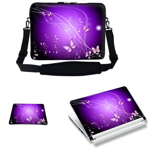 (Meffort Inc 17 17.3 inch Laptop Carrying Sleeve Bag Case with Hidden Handle & Adjustable Shoulder Strap with Matching Skin Sticker and Mouse Pad Combo - Purple Swirl Mini Butterfly)