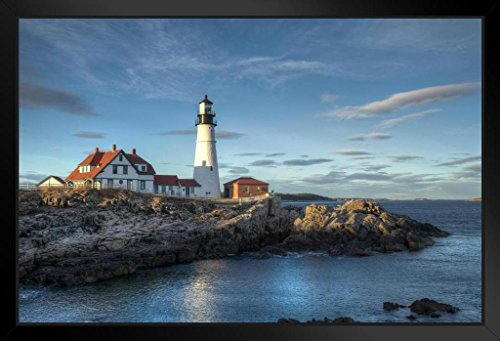 Portland Head Lighthouse Cape Elizabeth Maine Photo Art Print Framed Poster 20x14 inch